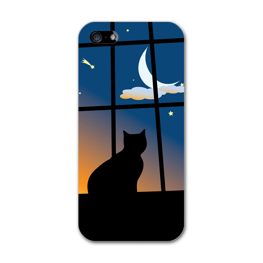 iphone5 アイフォーン iphone 5 softbank ソフトバンク スマホ カバー ケース スマホケース スマホカバー PC ハードケース 猫 三日月 アニマル 001048
