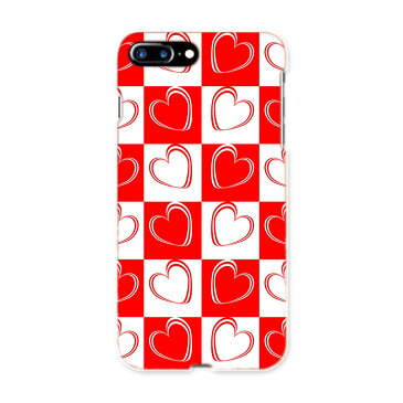 iphone8plus iphone 8 plus アイフォーン softbank ソフトバンク スマホ カバー スマホケース スマホカバー PC ハードケース 008376 赤 レッド ハート 模様