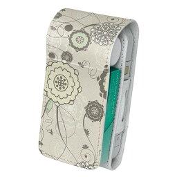 「宅配便専用」iQOS アイコス 専用 レザーケース 従来型 / 新型 2.4PLUS 両対応 タバコ ケース カバー 合皮 クリーナー 収納 アイコスケース デザイン 花 リーフ 000710
