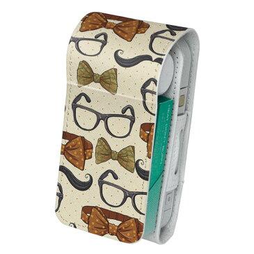 「宅配便専用」iQOS アイコス 専用 レザーケース 従来型 / 新型 2.4PLUS 両対応 タバコ ケース カバー 合皮 クリーナー 収納 アイコスケース デザイン 眼鏡 蝶ネクタイ 006795