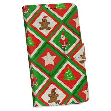 honor 9 HUAWEI honor9 simfree SIMフリー 手帳型 スマホ カバー 全機種対応 あり カバー レザー ケース 手帳タイプ フリップ ダイアリー 二つ折り 革 004884 クリスマス 模様 サンタ