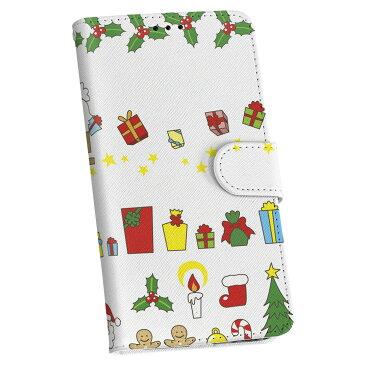 SHV37 AQUOS U アクオス ユー au エーユー 手帳型 スマホ カバー 全機種対応 あり カバー レザー ケース 手帳タイプ フリップ ダイアリー 二つ折り 革 ユニーク イラスト クリスマス サンタ 005523
