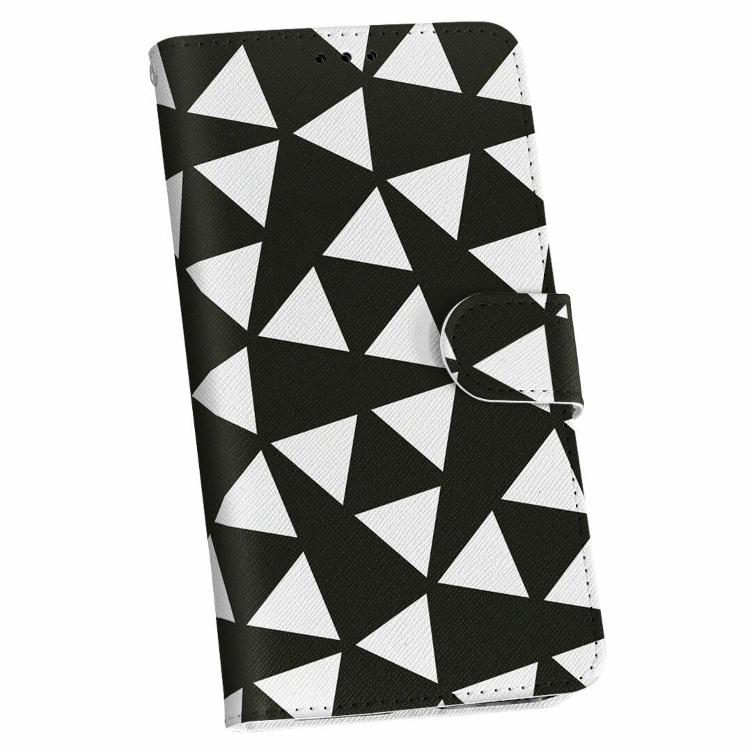 iPod touch 7(2019)/6(2015) アイポッドタッチ 第7世代 第6世代 対応 ケース 手帳型 スマホ カバー カバー レザー ケース 手帳タイプ フリップ ダイアリー 二つ折り 革 012465 モノトーン 白黒 三角