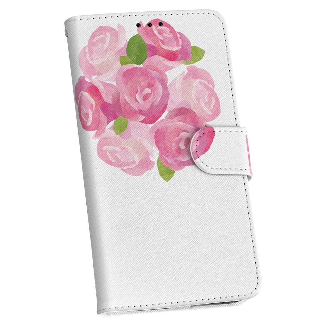 SC-02J Galaxy S8 ギャラクシー s8 docomo ドコモ 手帳型 スマホ カバー カバー レザー ケース 手帳タイプ フリップ ダイアリー 二つ折り 革 015399 バラ 花 ピンク