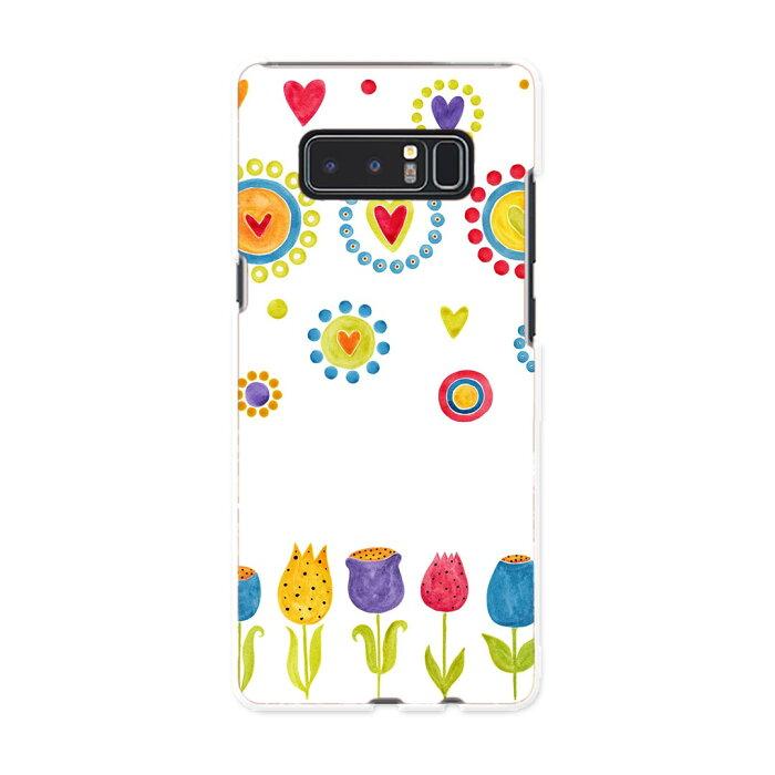 Galaxy Note8 SCV37 au エーユー スマホ カバー スマホケース ハード pc ケース 花 ハート チューリップ 013502