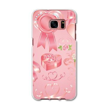 SCV33 Galaxy S7 edge ギャラクシー au エーユー スマホ カバー スマホケース ハード pc ケース ハードケース バレンタイン ピンク リボン ハート ラブリー 008299