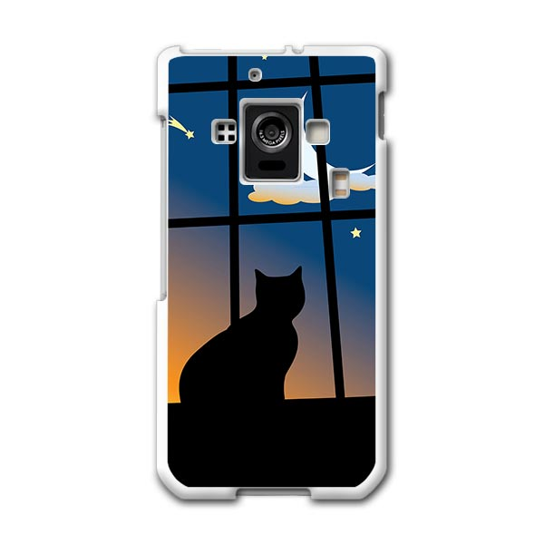 SH-02E AQUOS PHONE ZETA アクオスフォン sh02e docomo ドコモ スマホ カバー スマホケース ハード pc ケース ハードケース 猫 三日月 アニマル 001048