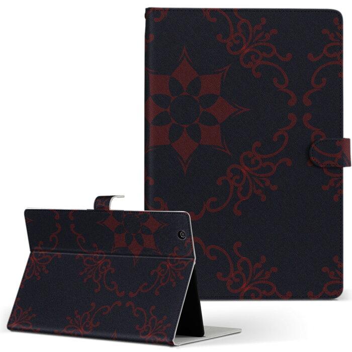 Tab W NEC 日本電気 LaVie ラヴィ tabw LLサイズ 手帳型 タブレットケース カバー レザー フリップ ダイアリー 二つ折り 革 その他 模様 紺 004397
