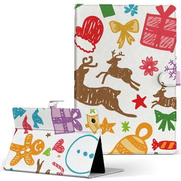 LAVIE Tab TE510BA ラヴィタブ te510bal NEC 日本電気 Lサイズ 手帳型 タブレットケース カバー 全機種対応有り レザー フリップ ダイアリー 二つ折り 革 ユニーク 冬 イラスト クリスマス 005540