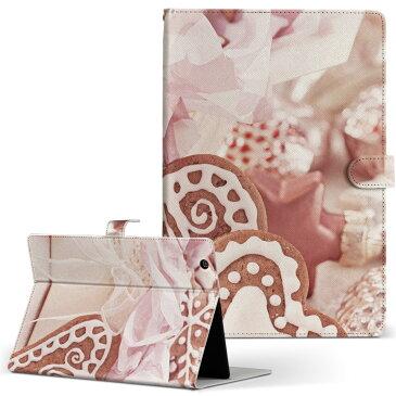 SONY ソニー Xperia Tablet エクスペリアタブレット sonytablets Lサイズ 手帳型 【2個以上送料無料】 タブレットケース カバー 全機種対応有り レザー フリップ ダイアリー 二つ折り 革 ラグジュアリー 写真 ハート クッキー 005562