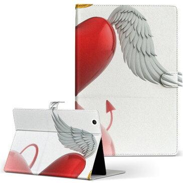 MSITab Primo 81 primo81 Mサイズ 手帳型 タブレットケース カバー レザー フリップ ダイアリー 二つ折り 革 ハート 天使 悪魔 ユニーク 005670