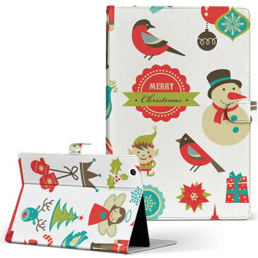 Dynabook Tab S68 ダイナブックタブ TOSHIBA Mサイズ 手帳型 タブレットケース カバー 全機種対応有り レザー フリップ ダイアリー 二つ折り 革 ユニーク イラスト クリスマス 005679
