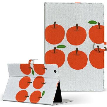 tekwind CLIDE W10A-W10HBK テックウインド CLIDE w10aw10hbk LLサイズ 手帳型 タブレットケース カバー 全機種対応有り レザー フリップ ダイアリー 二つ折り 革 フラワー りんご 林檎 イラスト 005855