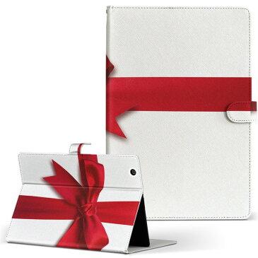 KYT32 Qua tab QZ8 キュアタブ quatabqz8 Mサイズ 手帳型 タブレットケース カバー 全機種対応有り レザー フリップ ダイアリー 二つ折り 革 ユニーク 赤 レッド リボン 008362