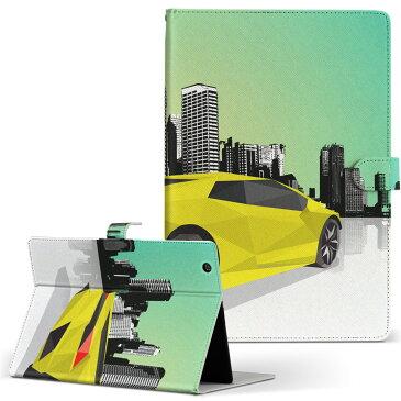 Lenovo Tab4 10 レノボ タブ4 10インチ Lサイズ 手帳型 タブレットケース カバー 全機種対応有り レザー フリップ ダイアリー 二つ折り 革 011449 車 乗り物 街並み
