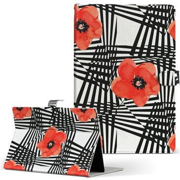 LaVie ラヴィ tabs NEC Sサイズ 手帳型 タブレットケース カバー レザー フリップ ダイアリー 二つ折り 革 012217 花柄 赤 黒