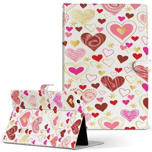 Lenovo Tab4 10 レノボ タブ4 10インチ Lサイズ 手帳型 タブレットケース カバー レザー フリップ ダイアリー 二つ折り 革 013309 ハート かわいい ピンク