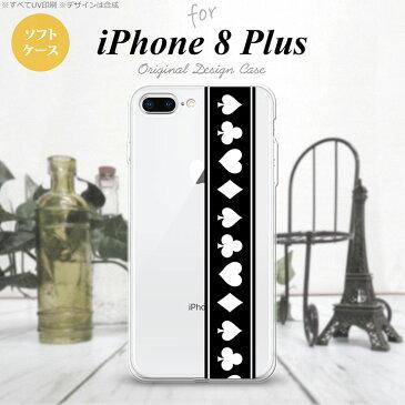 【iPhone8Plus】【スマホケース/スマホカバー】【アイフォン8プラス】iPhone8Plus スマホケース カバー アイフォン8プラス トランプ(帯) 黒×白 nk-ip8p-tp523【メール便送料無料】