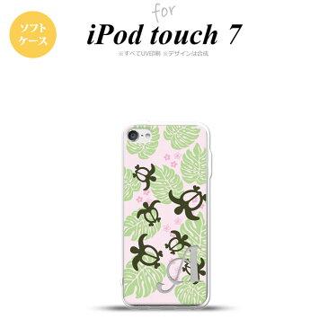 iPod touch 第7世代 ケース 第6世代 ソフトケース ホヌ 小 ピンク +アルファベット nk-ipod7-tp1466i