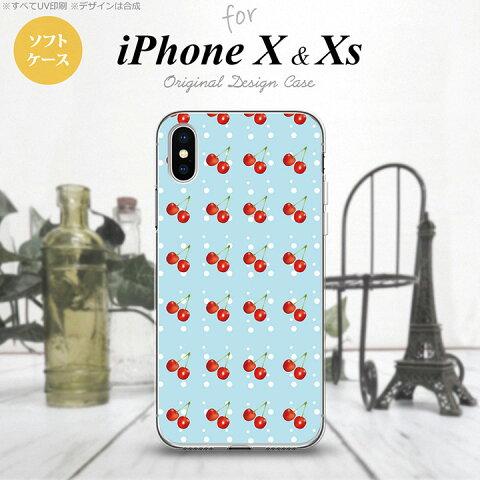 【iPhoneX】【スマホケース/スマホカバー】【アイフォンX】iPhoneX スマホケース カバー アイフォンX さくらんぼ・チェリー 青 nk-ipx-tp177【メール便送料無料】
