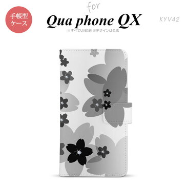 KYV42 QUA Phone QX 手帳型 スマホ ケース カバー 花柄・サクラ 黒【キュアフォン QX,QUA,Phone,QX,KYV42,au,メール便 送料無料】