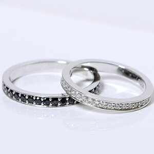 【CASHO】pt950(ハードプラチナ)エタニティーシリーズ(ホワイト&ブラック)メンズ&レディースペアリング、マリッジリング(結婚指輪)