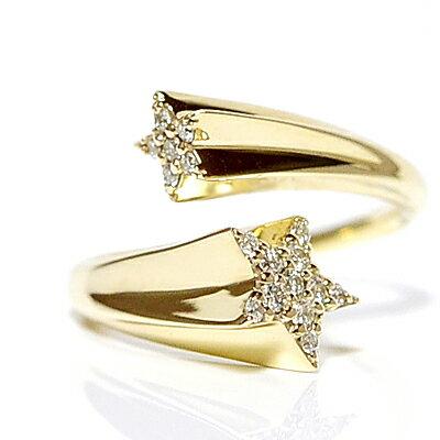 ツインスター フォークリング ツインダイヤモンド/ホワイトゴールド/ピンクゴールド/イエローゴールド/K10WG/K10PG/K10YG/K18/pt900製作/TWIN STAR FORK RING DIAMOND【楽ギフ_包装】誕生日クリスマスプレゼント