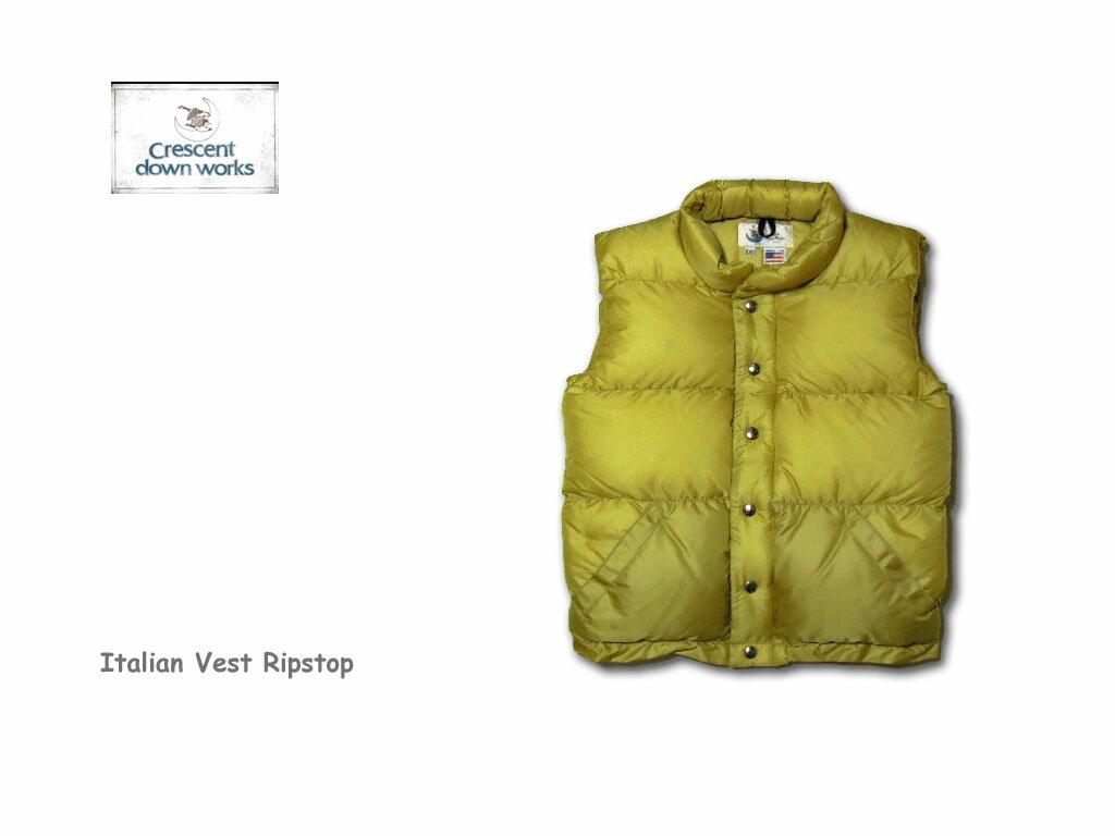 【Crescent Down Works】クレセントダウンワークス 201 Italian Vest Ripstop Tanレディース・イタリアンベスト