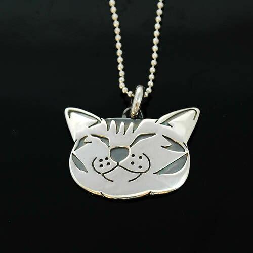 猫アクセサリーシルバーペンダント