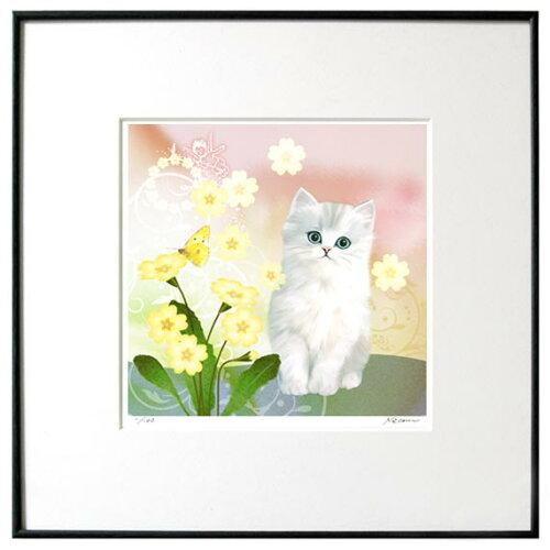 猫夢アート版画 「プリムローズ」白チンチラ長毛