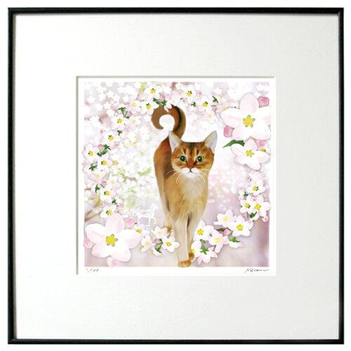 猫夢アート版画 「りんごの花」アビシニアン