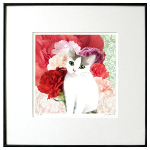 猫夢アート版画 「カーネーション」サバシロ ブチ