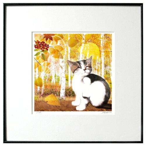猫夢アート版画 「白樺」キジシロ