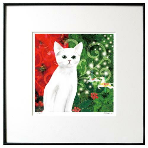 猫夢アート版画 「クリスマスキャット」白猫