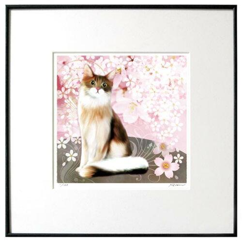 猫夢アート版画 「桜猫2」メインクーン長毛
