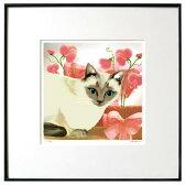 猫夢アート版画花と猫シリーズ 「スイートピー猫」シャム