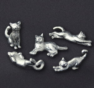 ハンドメイド錫 猫の箸置き(5ポーズセット)