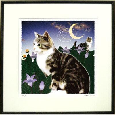 可愛い猫と花の絵のシリーズ版画♪マンドラゴラとタビー。【送料無料】猫夢アート版画花と猫シ...