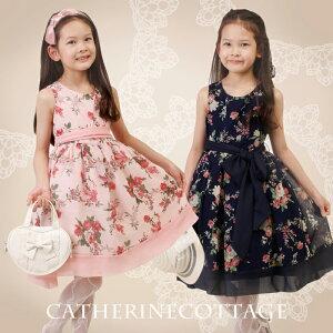 レトロな花柄にシフォンのサッシュベルトがしっとりと華やかな子供ドレス【到着後レビューで送...