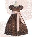 キッズドレス、子供服、ワンピースチョコレートカラーにピンクリボンのスクエアネックドレス ...
