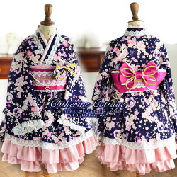 ちりめん桜のプリンセス柄着物ドレスセット帯と着物ドレスのセット七五三キッズドレス子供ドレス結婚式ハロウィン着物スカート