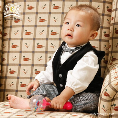 子供スーツ/キッズスーツ 子供スーツ ブラック綿ベスト付きロンパーススーツ 60-90cm★ベビー...