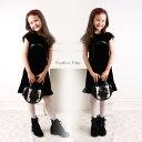 きれい系 スパンコール黒ベロアワンピース 子供ドレス フォーマル KIDS キッズ こども ...