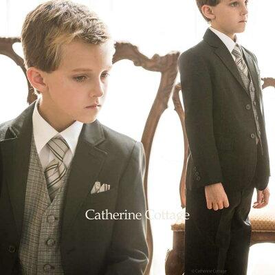 入学式 冠婚葬祭 スーツ ベスト付き6点セットアップ[子供服 フォーマル 黒 男児]
