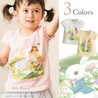 翻譯的孩子 T 襯衫白色和插座阿裡衝刺 (sprint) cutsaw YUP12 [短袖小孩衣服女孩休閒孩子嬰兒 80 90 100 110 120 釐米可愛的粉紅色的黃色的黃色的白色的上衣春天夏天插畫書設計]