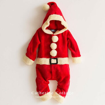 ベビー着ぐるみ クリスマス もこもこロンパース サンタコス[ ベビー服 ワンピース 90 95 cm サンタ 衣装 コスチューム キッズ 子供 トナカイ 赤ちゃん 男の子 女の子 サンタクロース サンタさん ]送料無料  [返品不可]