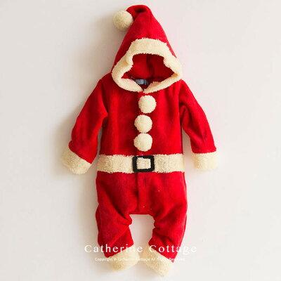 ベビー着ぐるみ クリスマス もこもこロンパース ベビーフォト サンタコス[ ベビー服 ワンピース 90 95 cm サンタ 衣装 コスチューム キッズ 子供 トナカイ 赤ちゃん 男の子 女の子 サンタクロース サンタさん ] TAK・・・ 画像1