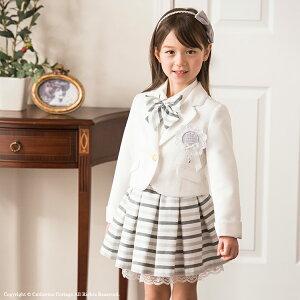 149e96c2ed38e 入学式 女の子 白ジャケットとボーダータックスカートスーツ5点セット 白 グレー 110 120 130cm ジャケット/スカート/ブラウス/リボン/ロゼット   子供服 子供 ...