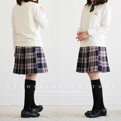 女の子スーツエンブレム付きブレザー7点セット[ブレザー/ニットベスト/ブラウス/スカート/ネクタイ/リボン/エンブレムブローチ]ガールズフォーマルスーツセットティーンズ入学式卒業式冠婚葬祭なんちゃって制服
