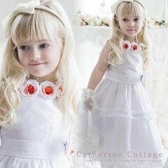女の子用ドレス 子供ドレス オレンジローズのホワイトドレス[子供服 発表会 フォーマル キッズ…